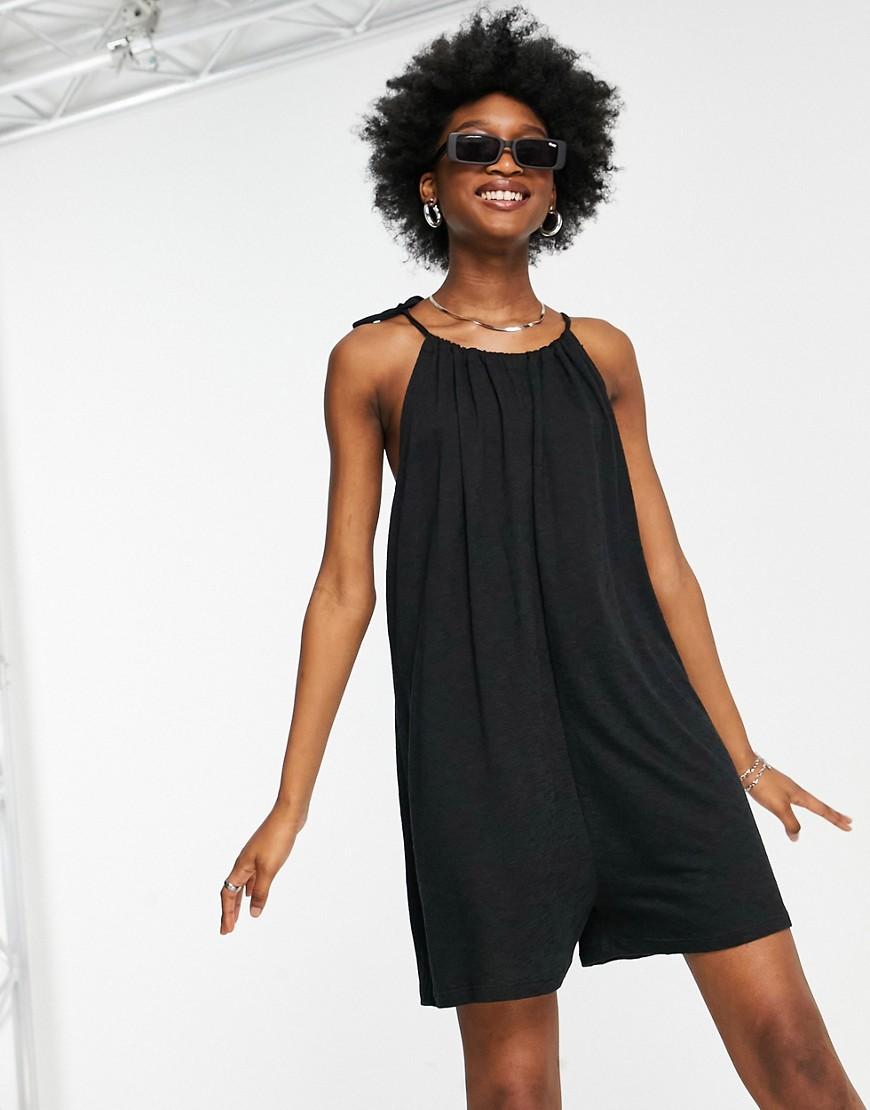 ASOS DESIGN textured tie halter playsuit in black