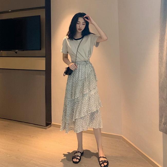 FOFU-半身裙女夏韓版高腰圓點不規則蛋糕荷葉邊長版很仙的裙子【08SG06132】
