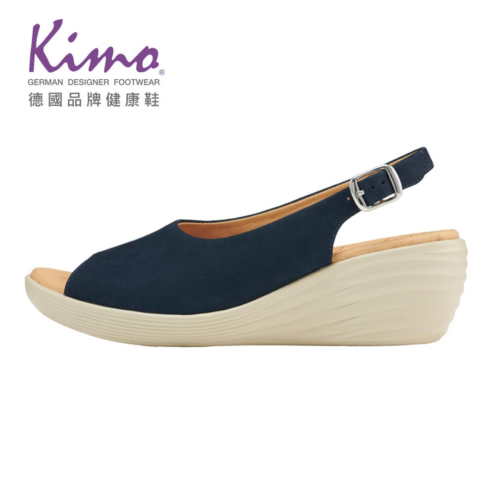 Kimo魚口麂皮後繫帶楔型波紋鞋底涼鞋 女鞋 (深藍 KBJSF100116)