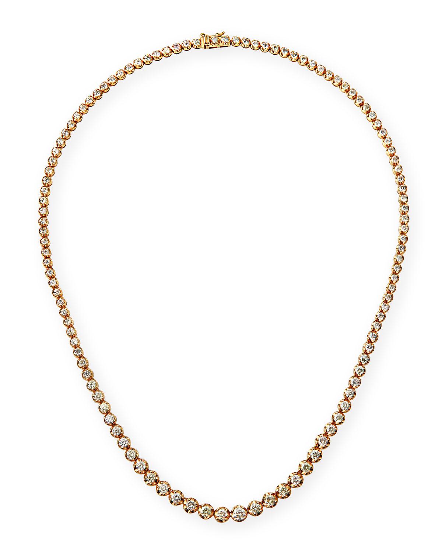 14k Yellow Gold Graduated Diamond Tennis Necklace