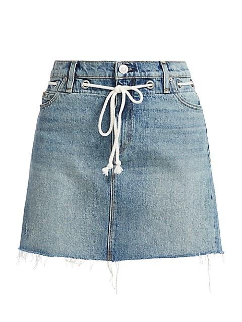 Grommet Tie-Waist Denim Mini Skirt