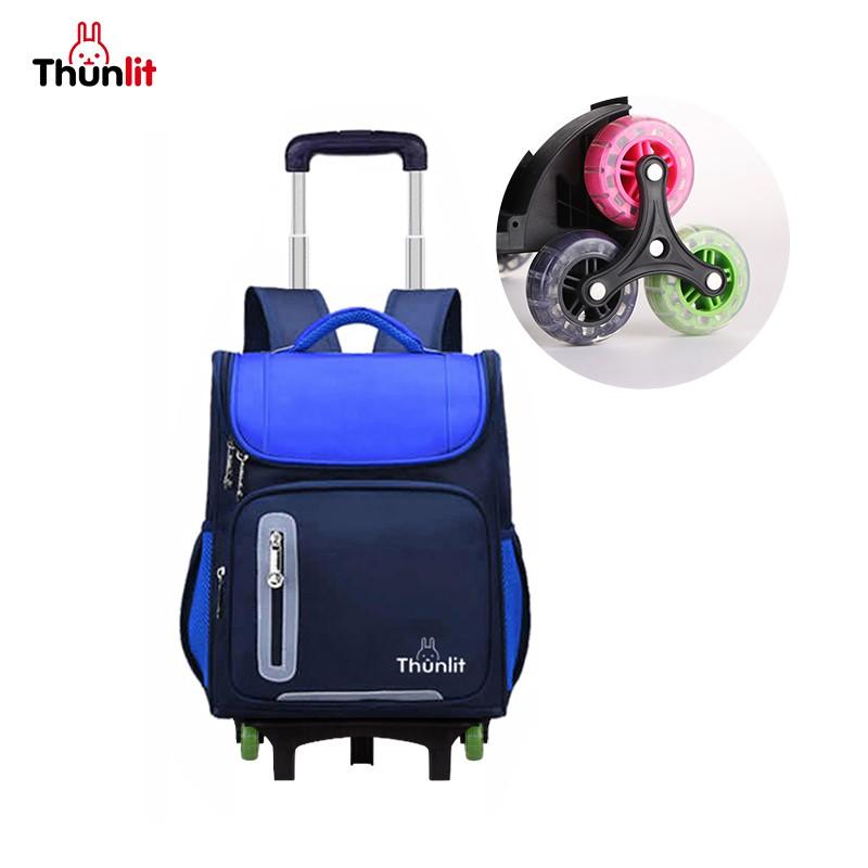 Thunlit兒童拉桿背包 六輪拉桿書包適用於3-6年級的小學推拉或背保護脊椎大容量