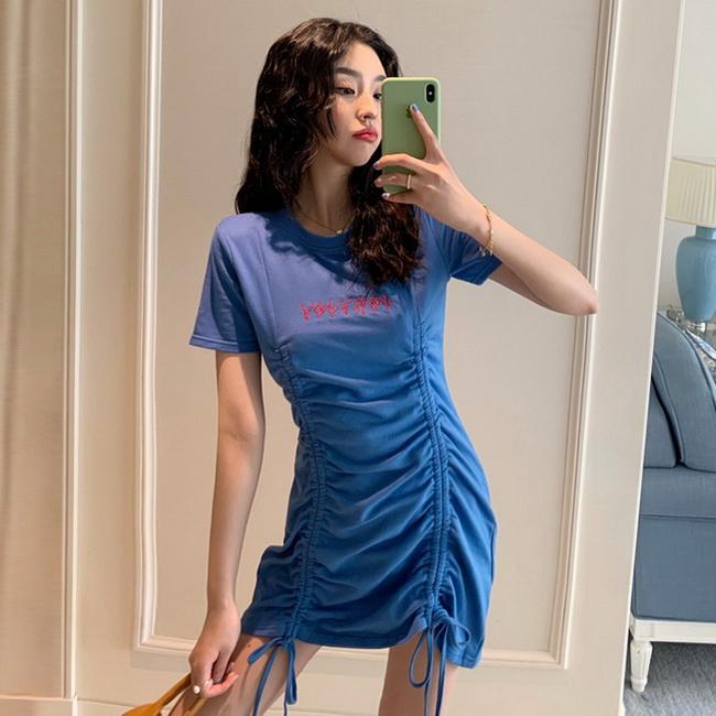 FOFU-韓版女裝藍色抽繩性感長裙設計感設計款茶歇裙圓領連身裙【08SG06142】