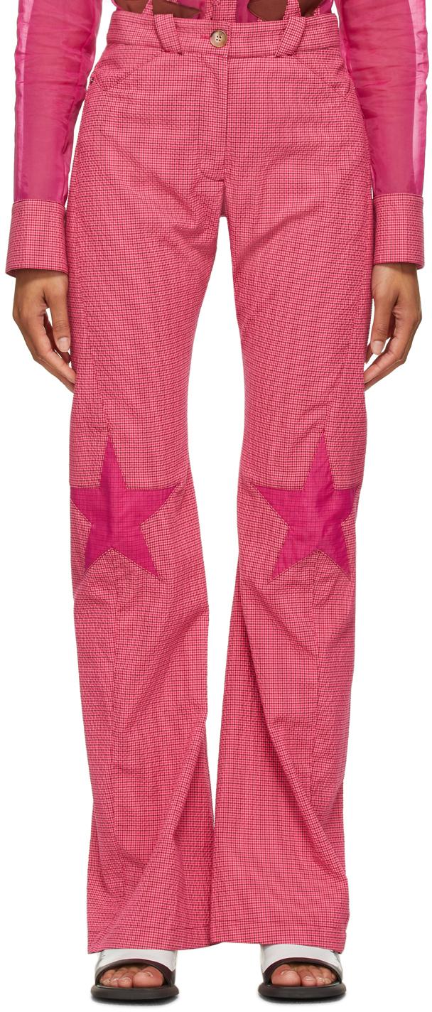 Kiko Kostadinov 粉色 Estelle 格纹长裤