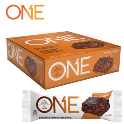 【美國 ONE Brands】ONE Bar 牛奶乳清蛋白棒 Chocolate Brownie(巧克力布朗尼/12x60g/盒)