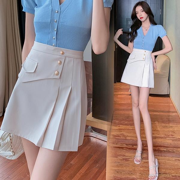 VK精品服飾 韓國風時尚高腰顯瘦百褶裙不規則褶皺包臀單品短裙