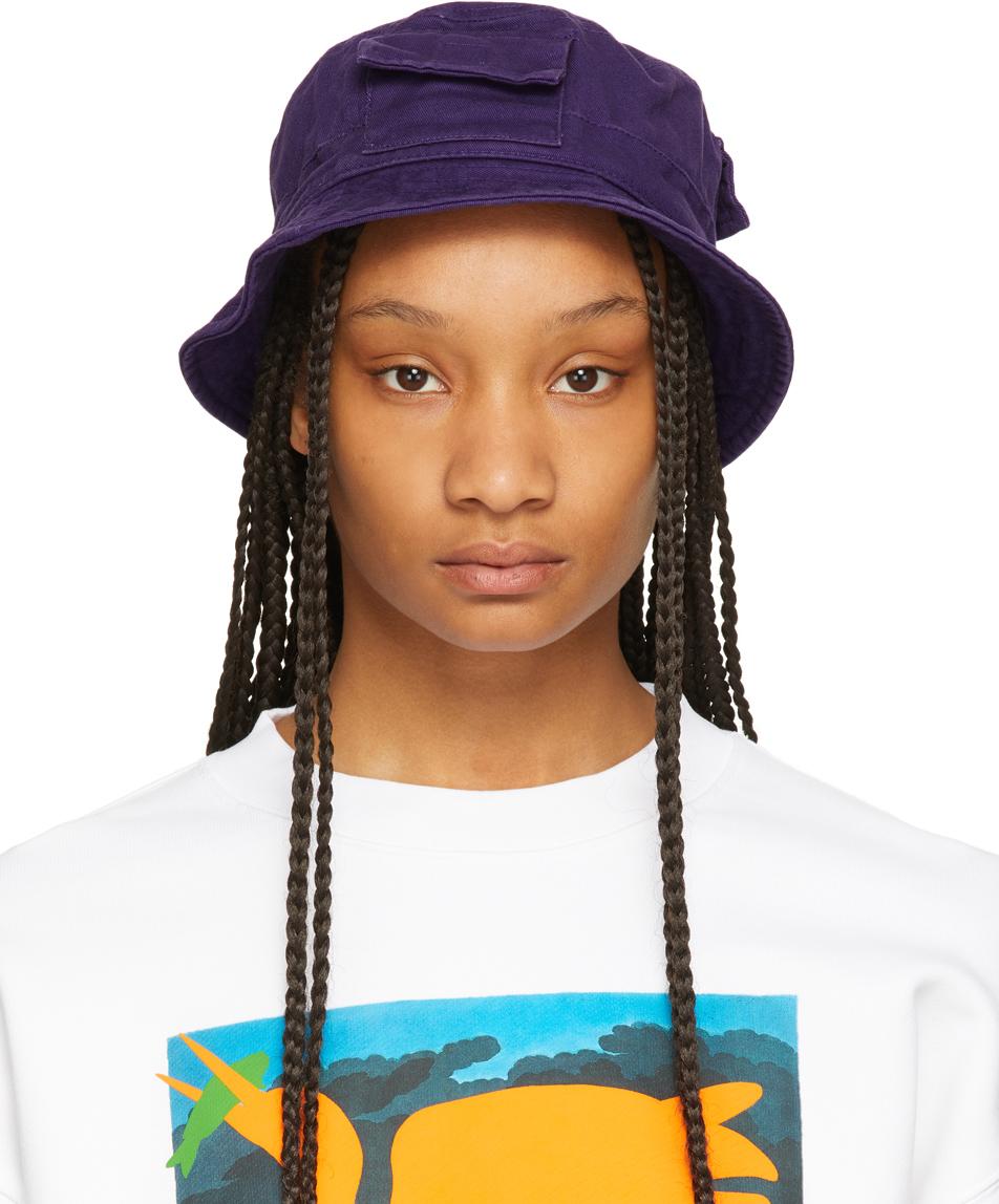 Heron Preston 紫色斜纹渔夫帽