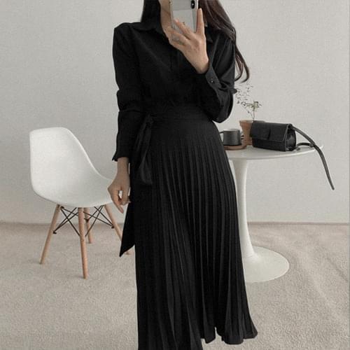 韓國空運 - 圓弧襬襯衫百褶長裙套裝