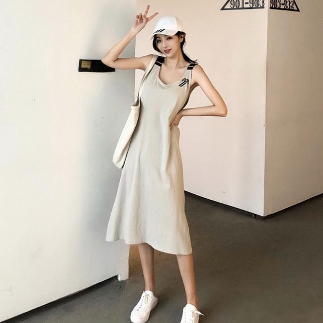 FOFU-韓版女裝復古打底內搭裙寬鬆休閒無袖背心中長版連身裙【08SG06065】