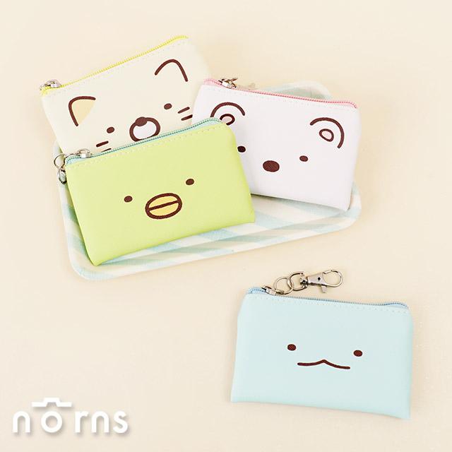 日貨角落小夥伴皮革方型扁零錢包 v2大臉系列- Norns 日本進口 恐龍貓咪白熊