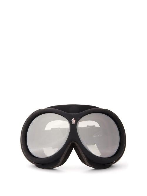 Moncler - Logo-jacquard Strap Ski Goggles - Womens - Black