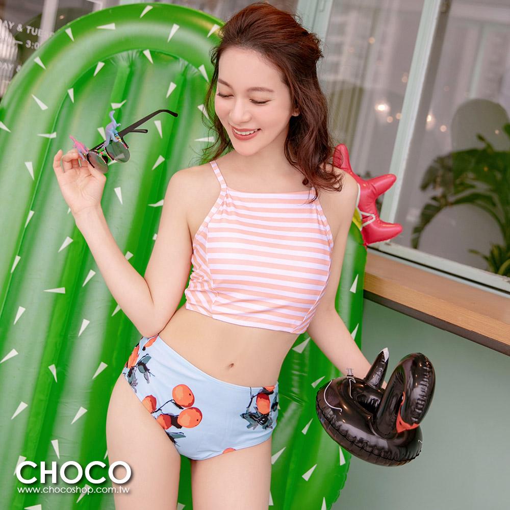 加州陽光.綁帶交叉美背二件式顯瘦泳衣(湖水藍) S~XL Choco Shop