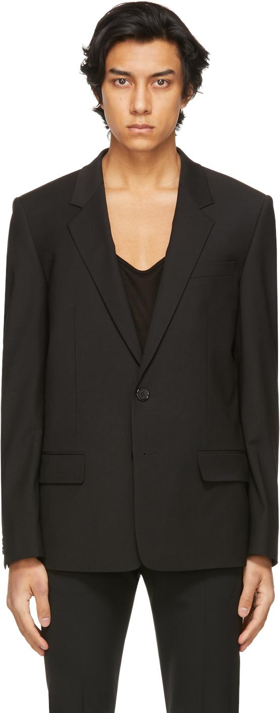 System 黑色单扣西装外套