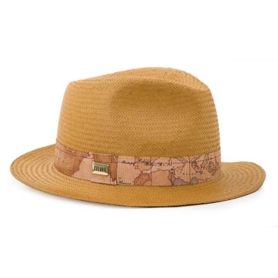 Alviero Martini 義大利地圖包 輕奢質感 經典編織草帽-駝色