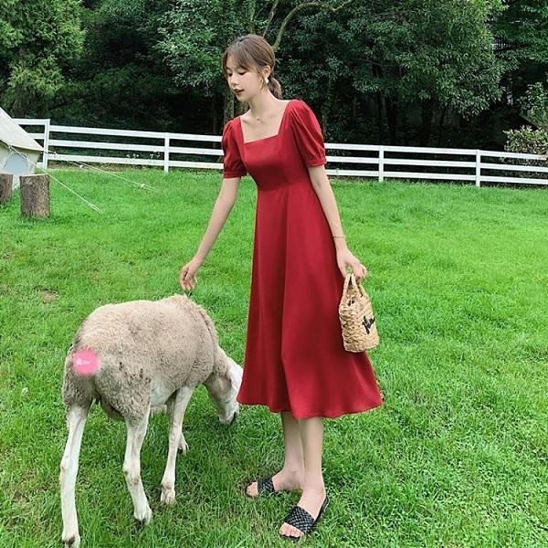 方領洋裝 2021新款女裝韓版方領紅色雪紡連身裙中長款氣質泡泡袖法式裙子夏 【618 大促】
