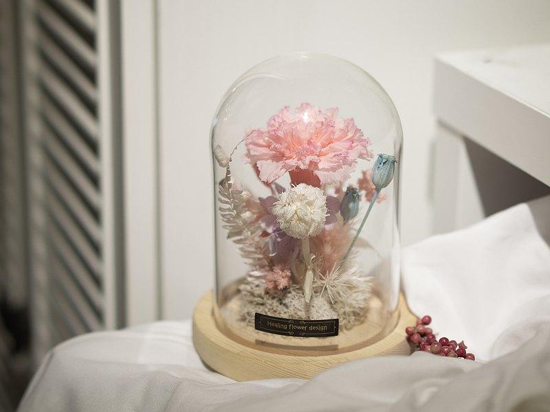 不凋康乃馨玻璃罩盅 一人成團 兩人95折 手作課程
