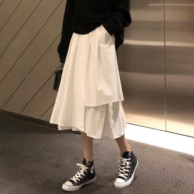 FOFU-百搭鬆緊高腰中長版不規則素面半身裙裙【08SG06119】