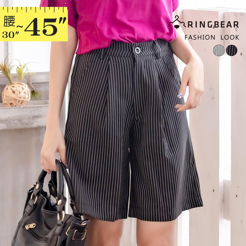 五分褲--雅緻格調知性魅力OL首選質感直條挺版雙口袋五分褲(黑.灰XL-5L)-R178眼圈熊中大尺碼