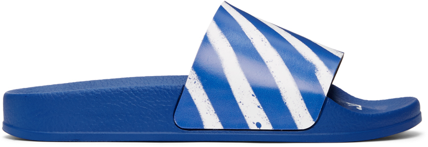 Off-White 蓝色 Diagonal Stripes 拖鞋