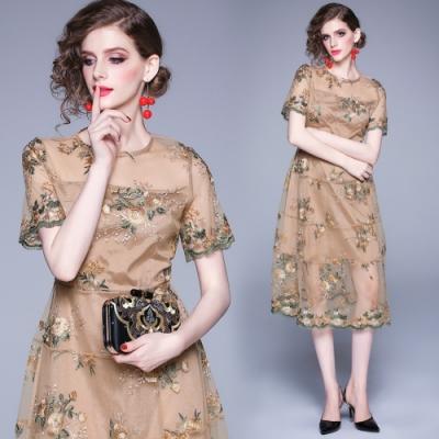 刺繡花卉半透網紗短袖洋裝小禮服M-2XL-M2M