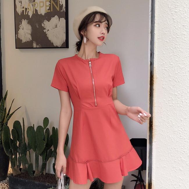 FOFU-短袖拉鍊高腰修身顯瘦荷葉邊連身裙氣質素面裙子【08SG05997】