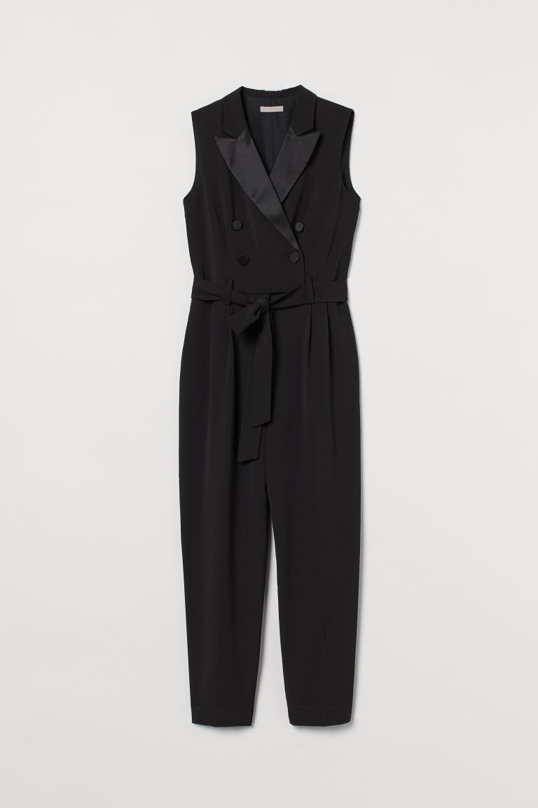 H & M - 雙排扣連身褲裝 - 黑色