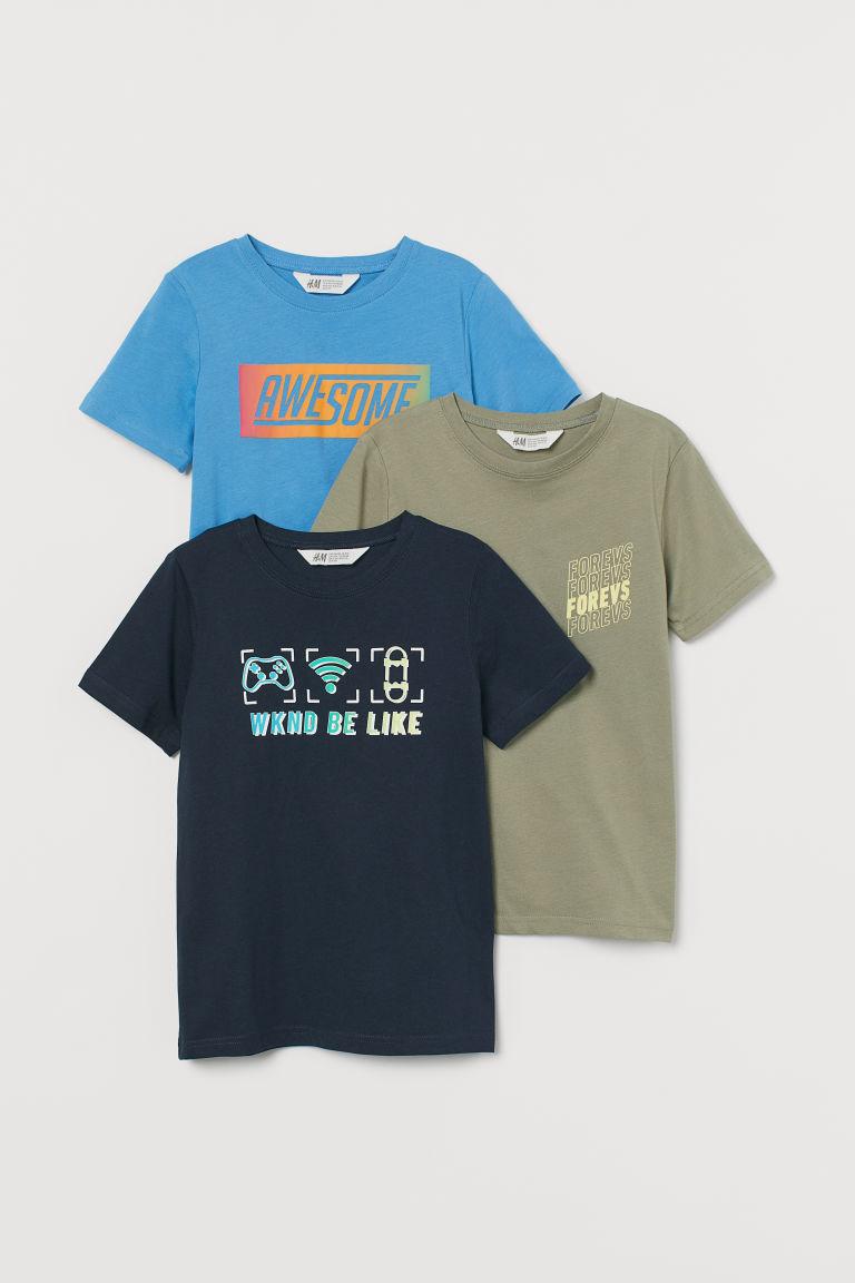 H & M - 3件入圖案T恤 - 藍色