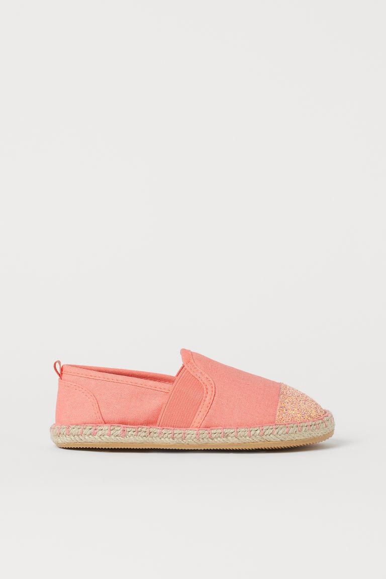 H & M - 金蔥細節草編鞋 - 粉紅色