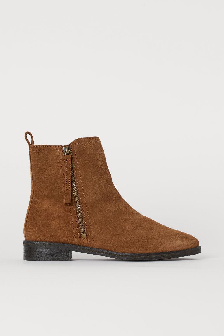 H & M - 保暖內裡麂皮靴 - 米黃色