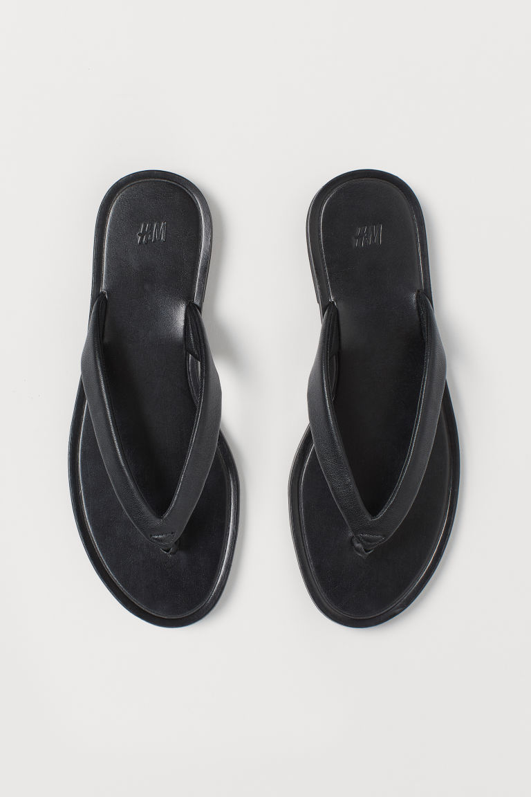 H & M - 真皮人字拖 - 黑色