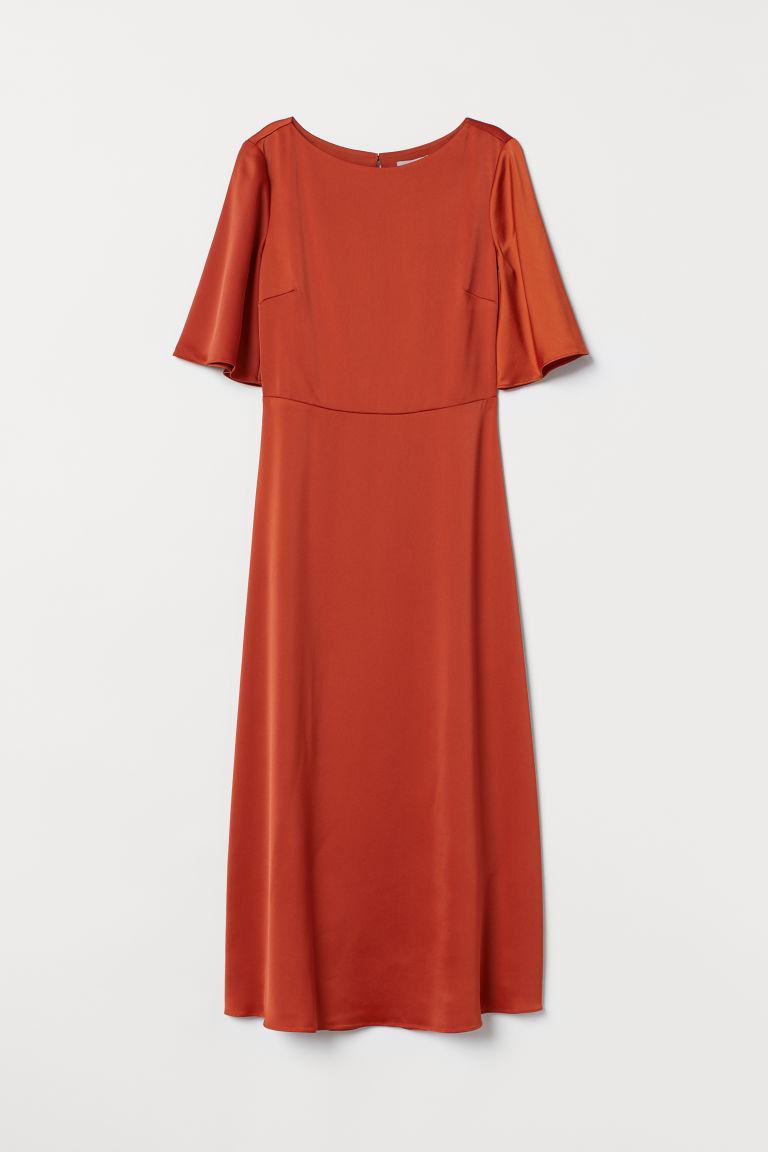 H & M - 綢緞洋裝 - 橙色