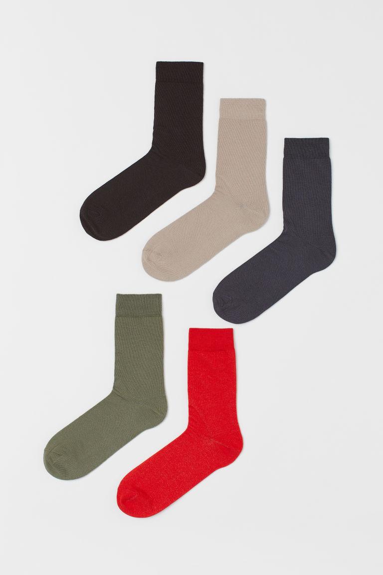 H & M - 5雙入襪子 - 米黃色