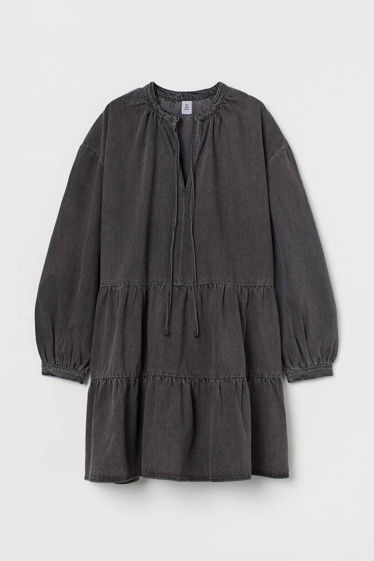 H & M - 棉質斜紋洋裝 - 黑色