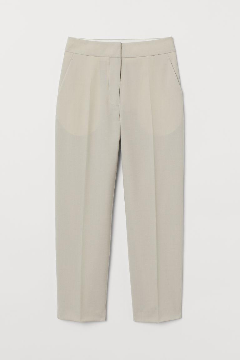 H & M - 羊毛混紡煙管褲 - 褐色