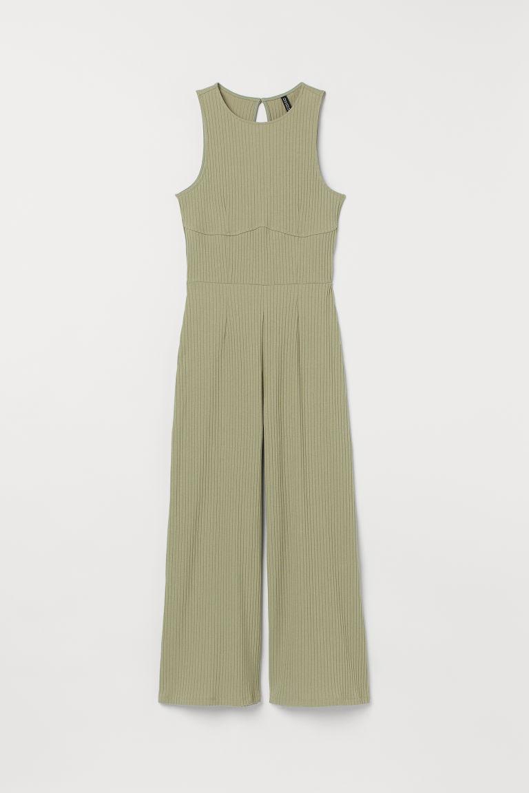 H & M - 羅紋平紋連身褲裝 - 綠色