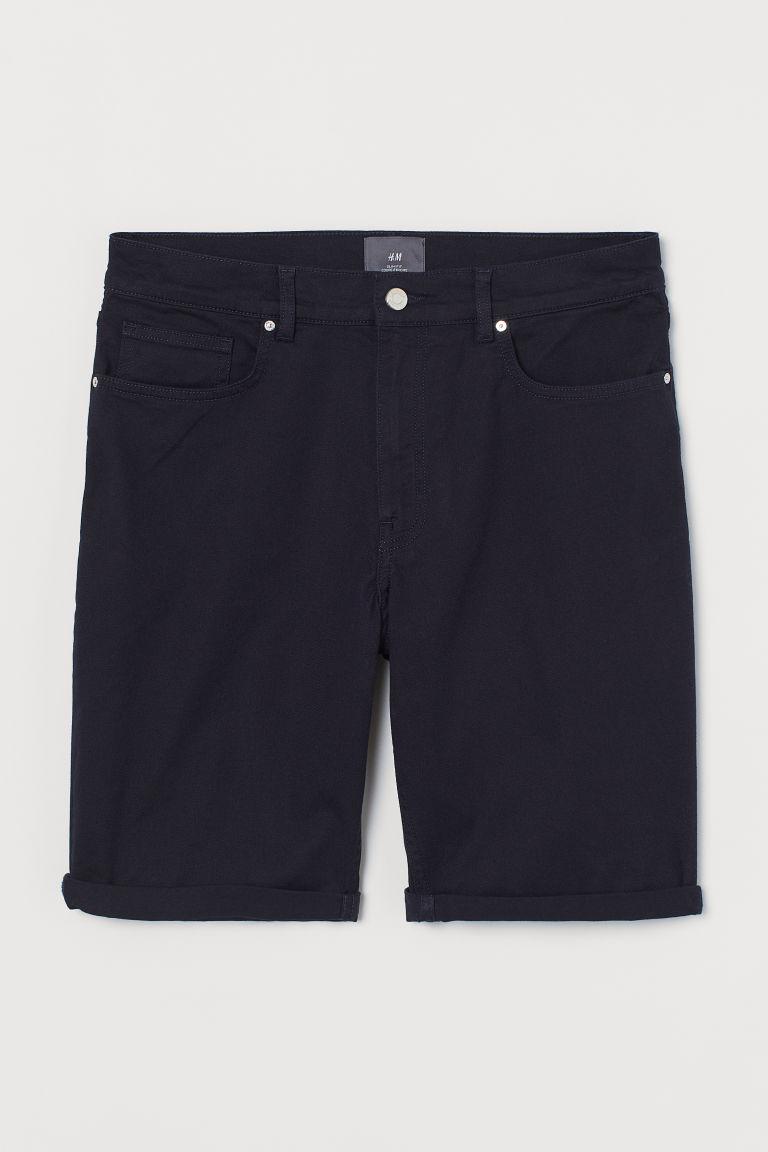 H & M - 貼身斜紋短褲 - 藍色