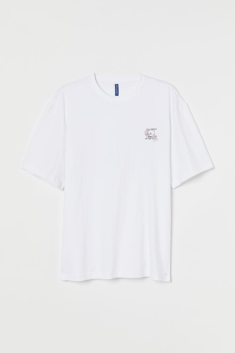 H & M - 休閒剪裁T恤 - 白色