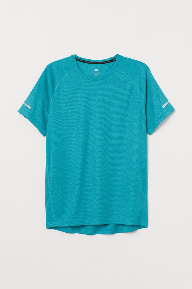H & M - 標準剪裁跑步上衣 - 藍綠色