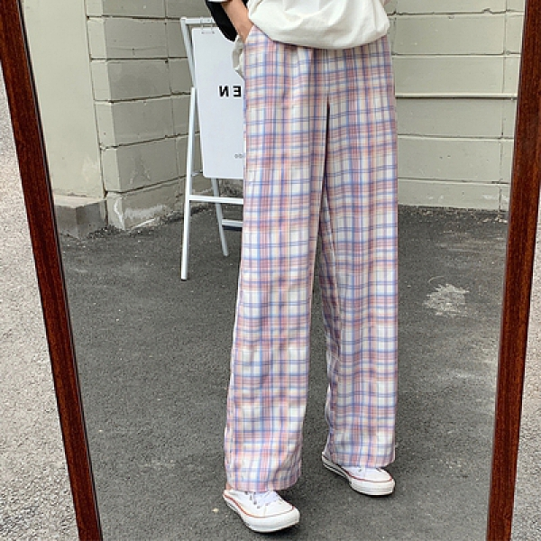 格子休閒褲L-4XL 1520# 格子長褲女寬松直筒闊腿褲顯瘦百搭高腰休閑褲潮3F041.依品國際