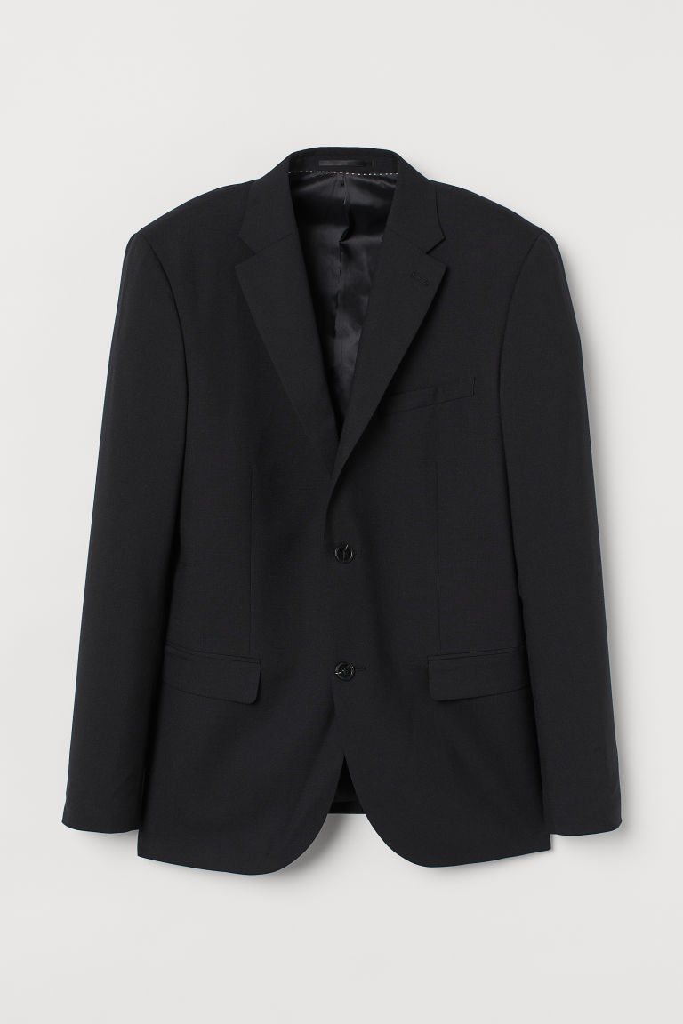 H & M - 貼身羊毛外套 - 黑色