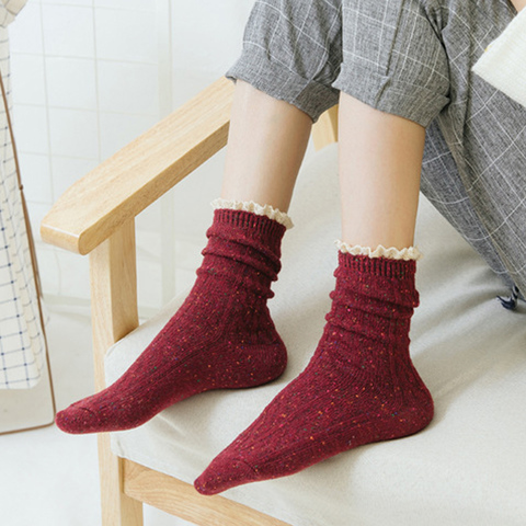 *日系甜美花邊長襪-紅