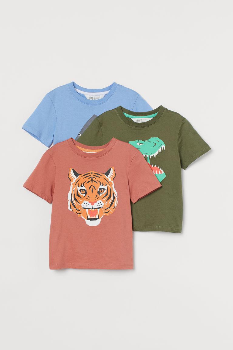 H & M - 3件入棉質T恤 - 橙色