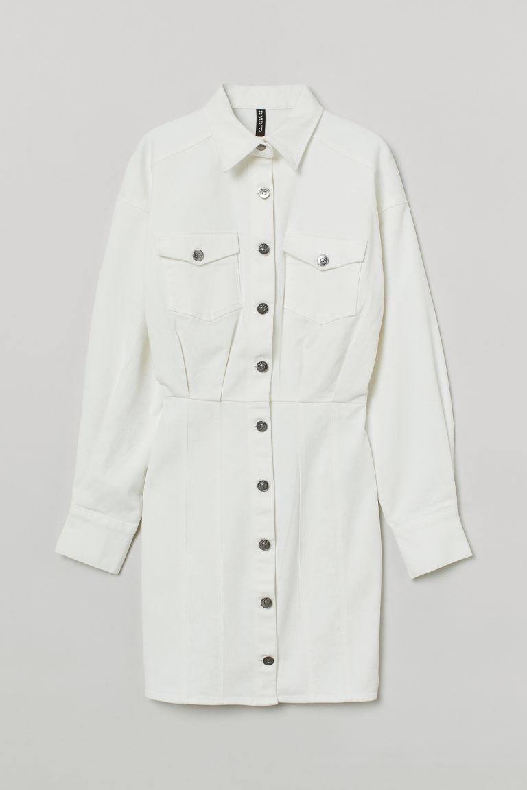 H & M - 丹寧洋裝 - 白色