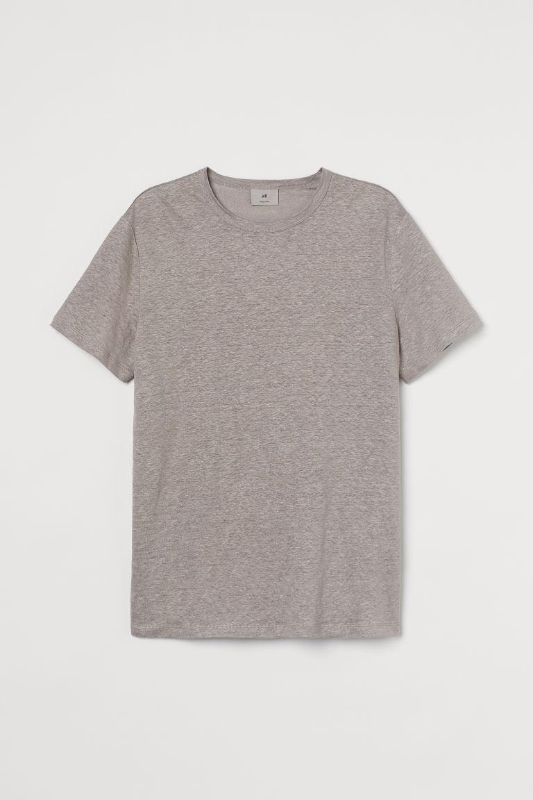 H & M - 亞麻T恤 - 褐色