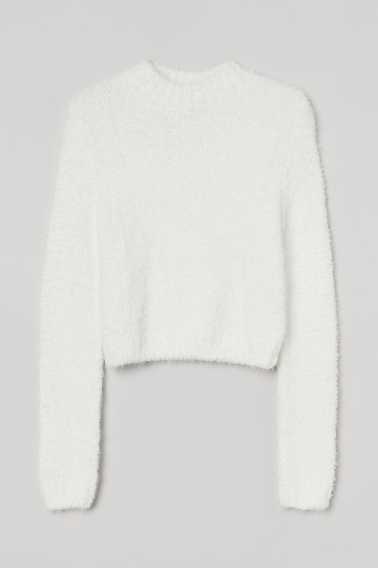 H & M - 毛圈紗套衫 - 白色