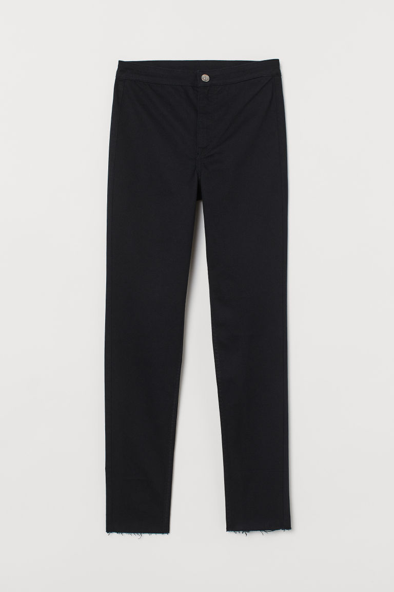 H & M - 高腰斜紋長褲 - 黑色