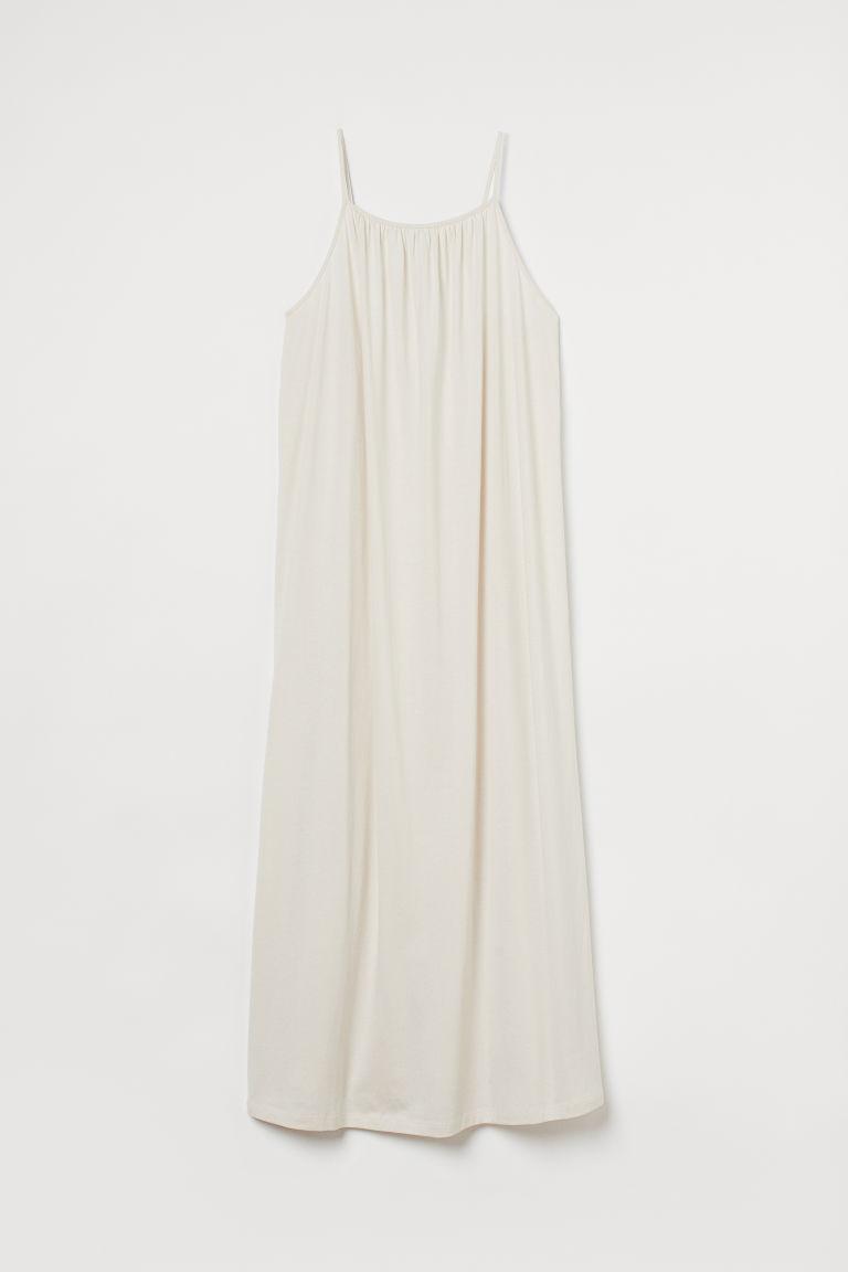 H & M - 細肩帶及地長洋裝 - 米黃色