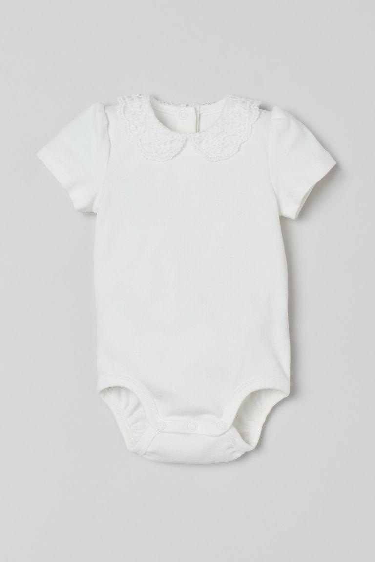 H & M - 蕾絲領連身衣 - 白色