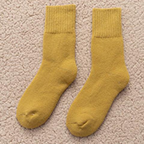 *日系糖果色雪地襪-黃