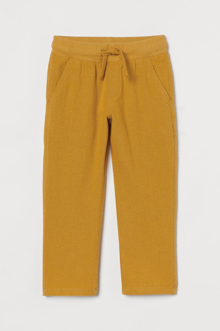H & M - 貼身亞麻混紡卡其褲 - 黃色